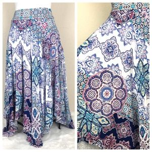 Chico's Handkerchief Hem Midi Skirt Mandala Boho